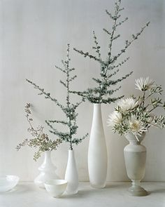 A combination of vintage and contemporary vessels holds white spider mums, seeded eucalyptus (available at florists), and blue Atlas cedar branches lightly frosted with silver floral spray paint.