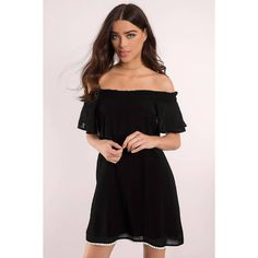 Tobi Mandy Off Shoulder Dress ($58) via Polyvore featuring dresses, black, flounce dress, off shoulder frill dress, frill dress, flutter-sleeve dress and off-shoulder dresses