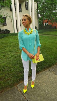 Turquoise Tunic, White Skinny Jeans, and Neon