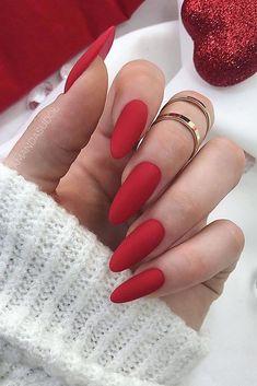 Pin by leslie plancarte on nails unhas amendoada, ideias para unhas, unhas. Valentine's Day Nail Designs, Almond Nails Designs, Nail Designs Spring, Red Nail Art, Red Acrylic Nails, Red Gel Nails, Glitter Nails, Long Red Nails, Red Toenails