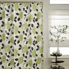 green and gray shower curtain. Update your bathroom with a splash of color and fun print  The Valencia Shower Curtain uses pops pink orange teal in modern floral