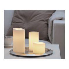 LED flickering candle STÖPEN LED block candle, set of 3  - IKEA