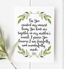 Psalm 139:13-14 - For your created my inmost being - Bible verse - Bible verse wall art art - Scripture art - Bible verse wall art