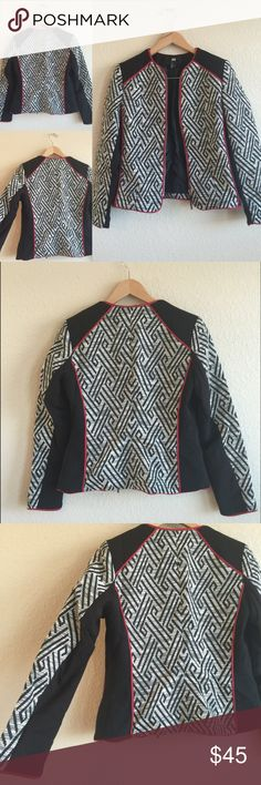 H&M ❤️ Red, Black Zip-Up Tribal Jacket Blazer, 6 Size 6.  Beautiful with a solid top and skinny jeans!  Zips in the front. H&M Jackets & Coats