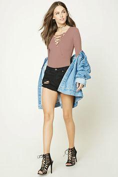 Lace-Front Bodysuit