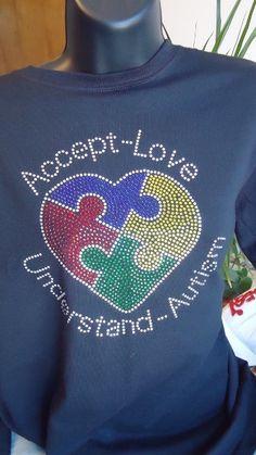 Autism Rhinestone Heart Shirt. $30.00, via Etsy.