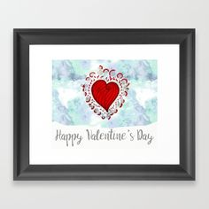 Watercolor zen style love heart Framed Art Print Love bears all things, believes all things, hopes all things, endure all things, LOVE NEVER ENDS Happy Valentine's day