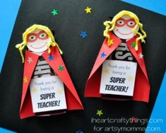 Thank you for being a super teacher . From our post 20 Last Minute Handmade Teacher's Day Card ideas at ArtsyCraftsyMom.com - Free, printable and personalized thank-you cards that kids can make and Teachers will love! Perfect for National Teacher Appreciation Week and or end of school Teacher appreciation tags.