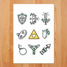 Minimal Essentials of Zelda :: Kirk Wallace, trzown | Freelance Illustrator & Graphic Designer, Boston Massachusetts