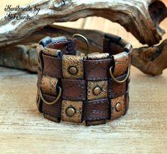Boho bracelet Cuff bracelet Boho cuff Brown bracelet Unique bracelet Unusual bracelet Chunky bracelet Wide bracelet Polymer clay jewelry