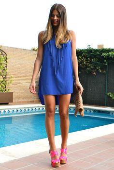 Blue Fringes  , coosy in Dresses