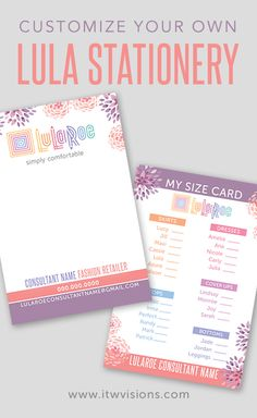 Lularoe stationery that can be customized to fit your business.  Let us know of the changes you'd like and we will do our best to accommodate.  Lularoe thank you cards, business cards, banners, yard signs and more.  Kindly visit itwvisions.com