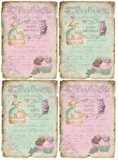 Design Free vintage Marie Antoinette Tags by virginia Decoupage Vintage, Papel Vintage, Decoupage Paper, Vintage Tags, Vintage Labels, Vintage Ephemera, Vintage Paper, Vintage Prints, Vintage Stuff