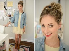 Outfit inspo- chambray shirt over off white dress with brown boots. Weekday Wardrobe c/o Cupcakes and Cashmere.