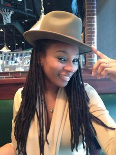 .pretty long locs and hat