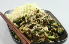 BROCCOLI IN HOISINI SAUCE WITH PARSNIP RICE (Part 2)  PARSNIP RICE  1.5 cups (275g/10oz) peeled parsnips  1.5 tablespoons pine nuts  1 tablespoon macadamia nuts  1 tablespoon light miso  1 tablespoon cold-pressed sesame oil 3 spring onions