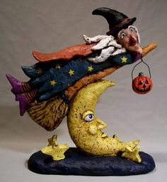 Paper Mache Halloween Witch & Moon Papier Mache