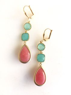 Coral Pink Turquoise and Aqua Dangle Earrings in Gold. Drop Earrings. Long Earrings. Bridal Party Jewelry. Bridesmaids Gift. Wedding Jewerly by RusticGem on Etsy
