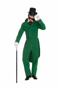 Old Fashioned Christmas Caroler Green Costume Suit Adult