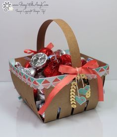 I used the fun new Berry Basket Bigz L Die from the Stampin' Up! 2015 Occasions Catalog to create a little valentine treat holder to share with you today. The basket is really quick to put together...