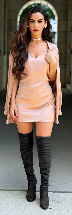 Peach colour coat and dress, boots