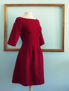 red wool dress with 3/4 sleeves and fully lined fall-winter dress - SANDRA style - Plus size available. $169.00, via Etsy.