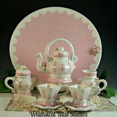 Whimsical Bliss Studios - Pink Stripe Missy Tea Set for little girls