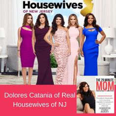 """Our guest in this episode of The 29 Minute Mom is Dolores Catania. Dolores is the newest cast member of the hit show on Bravo: The Real Housewives of New Jersey. She is also the owner of Powerhouse Gym in Oldbridge, NJ, and Whipiney. Dolores is the mom of two children Gabrielle (21) and Frankie(18) and several dogs. Known lovingly as the """"real deal"""" by her friends, Dolores is not one to sugar coat anything and always brings blunt honesty to the table. Dolores Catania, Prom Dresses, Formal Dresses, Real Housewives, Second Child, Housewife, Ford, It Cast, Cast Member"""