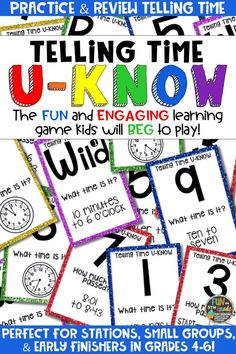 Students love playing U-Know games for fun REVIEW of telling time and elapsed time or for test prep. It's a perfect activity for any small group or station, and great for early finishers. Telling Time U-Know is a fun learning game played similar to UNO except if you get an answer wrong, you have to draw two! Students will beg to practice common telling time and elapsed time in this way! Available in MANY other topics, too!
