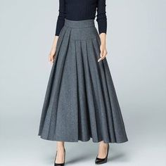 Maxi Wool skirt maxi skirt gray skirt wool skirt pleated skirt winter skirt warm skirt asymmetrical skirt handmade skirt by xiaolizi Handmade Skirts, Pleated Maxi, Asymmetrical Skirt, Wool Skirts, Maxi Skirts, Jean Skirts, Denim Skirts, Gray Skirt, Modest Fashion