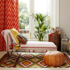 Make it to Morocco with an intimate seating area like this one. The trick is to clash stripes, geometrics and chevron prints in similar shade to create a fashion that looks collected and not chaotic.
