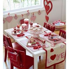 How cute is this Valentine's table set up?! Happy Valentine's Day ️️... - Home Decor For Kids And Interior Design Ideas for Children, Toddler Room Ideas For Boys And Girls