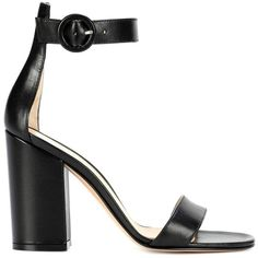 Gianvito Rossi Versilia Leather Sandals (14,295 MXN) ❤ liked on Polyvore featuring shoes, sandals, real leather shoes, gianvito rossi shoes, leather shoes, black shoes and black leather sandals