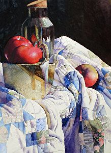 Chris Krupinski | WATERCOLOR | Apples, Jar, and Quilt