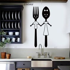 Vinyl Wall Decal Funny Spoon and Fork Kitchen Restaurant Dining Room Stickers Unique « Home Decoration Kitchen Wall Decals, Wall Stickers Home Decor, Kitchen Art, Diy Wall Decor, Kitchen Decor, Room Stickers, Decals For Walls, Kitchen Wall Stickers, Vinyl Decor