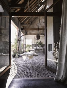 Swing, WDSTCK, clinker brics, farm, wooden beams, doors, linen, roof, concrete black floor, ZW6 interior, ZECC architecture