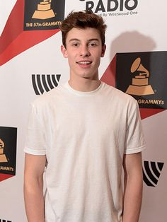Shawn Mendes poses backstage at the #Grammys Westwood One Radio Remotes event at the Staples Center on Feb. 5, 2015 in Los Angeles, California.