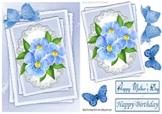 pretty bow with blue flowers on lace A5, Makes a pretty card for mothers day/.birthday