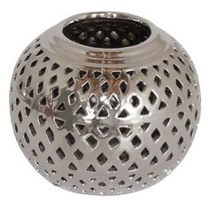 Check out this item at One Kings Lane! Pierced Ceramic Votive Holder, Silver