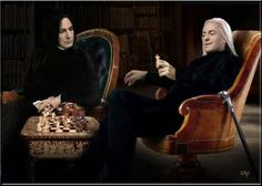Severus and Lucius play chess  Artwork by Xsha Harry Potter Female Characters, Harry Potter Actors, Harry James Potter, Harry Potter Universal, Harry Potter Fandom, Harry Potter Hogwarts, Professor Severus Snape, Severus Rogue, Snape Always