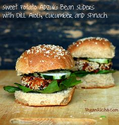 Vegan Richa: Sweet Potato Adzuki Bean Burger Gameday Sliders with Spinach, Cucumber, Dill Aioli. Vegan Recipe