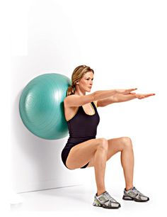 EXERCISE 3A: Swiss-Ball Body Weight Wall Squat STEP 2 (Quadriceps) Keeping your back in contact with the ball, lower your body until your upper thighs are at least parallel to the floor.