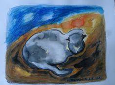 "Saatchi Art Artist Agnieszka Praxmayer; Painting, ""Cat sitting_ sunset"" #art"