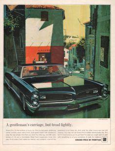1966 Black Pontiac Grand Prix car print ad Art Gallery by Vividiom, $9.00