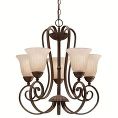 Kichler Willowmore Single-Tier  Chandelier with 5 Lights - 72  Chain Included - 22 Inches Wide - Tannery Bronze