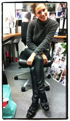 warm outfit with leather skinnies