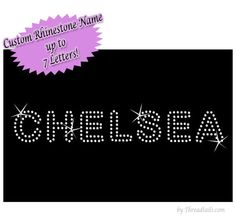 Custom Rhinestone Bling T-shirt.  Personalized Name in sparkling rhinestones.  Visit www.THREADTAILS.com or www.etsy.com/shop/threadtails.