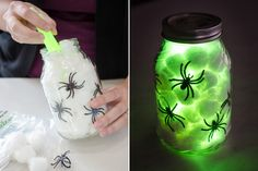 12 Dollar Tree DIY Halloween Decorations to Scream About Fill jars or vases with cotton balls, spider rings, and glow sticks. : 12 Dollar Tree DIY Halloween Decorations to Scream About Fill jars or vases with cotton balls, spider rings, and glow sticks. Spooky Halloween, Halloween Birthday, Halloween Party Decor, Halloween Camping Decorations, Diy Halloween Jars, Halloween Costumes, Halloween Supplies, Girl Halloween, Women Halloween