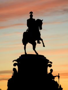 Russia, St;Petersburg; Silhoutte of Tsar Nicholas' I Monument Against a Dramatic Evening Light Photographic Print by Ken Sciclina at Art.com
