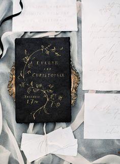 Elegant  black + gold wedding invitations: http://www.stylemepretty.com/2016/03/03/old-world-italian-inspired-shoot-in-napa-wedding-inspiration/ | Photography: Sally PInera - http://sallypinera.com/